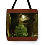 Moon On Fire Over Downtown Savannah Tote Bag