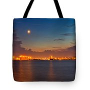 Moon Over Duluth Harbor Tote Bag