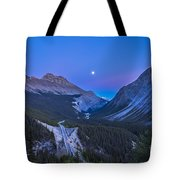 Moon Over Icefields Parkway In Alberta Tote Bag