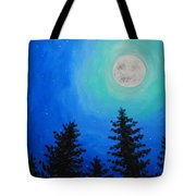 Moon Over Pines Tote Bag