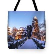 Moon Over Snowy Bastei Bridge Tote Bag