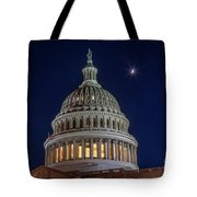 Moon Over The Washington Capitol Building Tote Bag