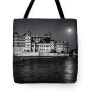 Moon Over Udaipur Bw Tote Bag