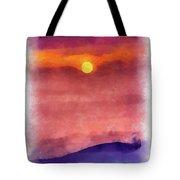Moon Rise In Aquarelle Tote Bag