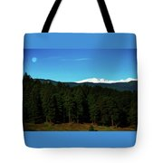 Moon Setting Into The Rocky Mountains Tote Bag