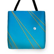 Moon Through The Wires Tote Bag