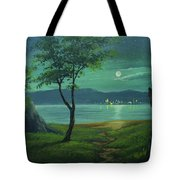 Moonlight Over The Sea Tote Bag