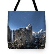 Moonlit Bridalveil  Falls-yosemite Valley Tote Bag