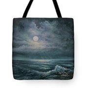 Moonlit Seascape Tote Bag by Katalin Luczay