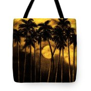 Moonlit Palm Trees In Yellow Tote Bag