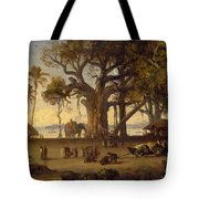 Moonlit Scene Of Indian Figures And Elephants Among Banyan Trees Tote Bag