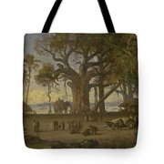 Moonlit Scene Of Indian Figures And Elephants Among Banyan Trees. Upper India Tote Bag