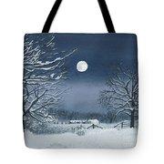 Moonlit Snowy Scene On The Farm Tote Bag