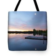 Moonrise At The Fishing Pond Tote Bag