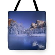 Moonrise Over Gates Of The Valley Yosemite National Park Tote Bag