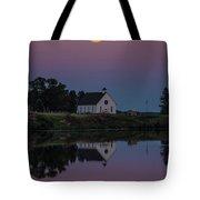Moonrise Over Lake Badus Tote Bag