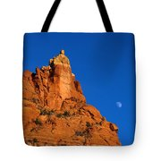 Moonrise Over Red Rock Tote Bag by Mike  Dawson