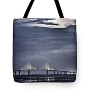 Moonrise Over Sunshine Skyway Bridge Tote Bag