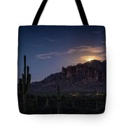 Moonrise Over The Superstitions Tote Bag