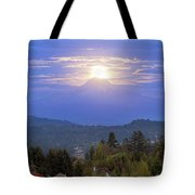 Moonrise Over The Top Of Mount Hood Tote Bag