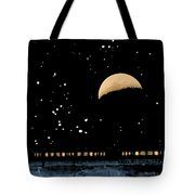 Moonset Over Depot Tote Bag