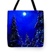 Moonshine On Snowy Pine Tote Bag
