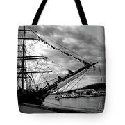 Moored At Hobart Bw Tote Bag