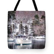 Moored Boats In Maine Winter  Tote Bag