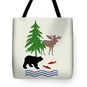 Moose And Bear Pattern Art Tote Bag
