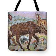 Moose And Horses Animal Vignette From River Mural Tote Bag