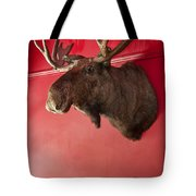 Moose Head Mounted On A Wall. Tote Bag