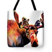Moose In Orange Tote Bag