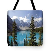 Moraine Lake In Banff National Park Tote Bag by Bryan Mullennix