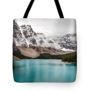 Moraine Lake In The Clouds Tote Bag