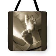 More Little Feet Tote Bag by Mamie Thornbrue