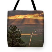 Morning Angel Lights Over The Valley Tote Bag