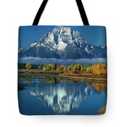 Morning Cloud Layer Oxbow Bend In Fall Grand Tetons National Park Tote Bag by Dave Welling
