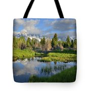 Morning Clouds Over Tetons Tote Bag