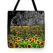 Morning Doves And The Sunflower Field Tote Bag