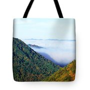 Morning Fog At Sunrise In Autumn Tote Bag