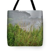 Morning Fog On Glacial Park Pond Tote Bag