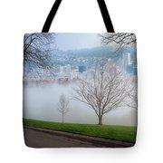 Morning Fog Over City Of Portland Skyline Tote Bag
