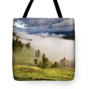 Morning Fog Over Yellowstone Tote Bag