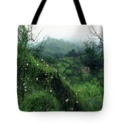 Morning Glories In Fog Tote Bag