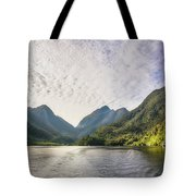 Morning Light Hitting The Docks At Doubtful Sound In New Zealand Tote Bag