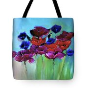 Morning Light Poppies Painting Tote Bag