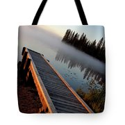 Morning Mist Over Lynx Lake In Northern Saskatchewan Tote Bag
