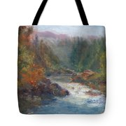 Morning Muse - Original Contemporary Impressionist River Painting Tote Bag