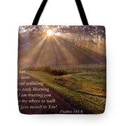 Morning Psalms Scripture Photo Tote Bag