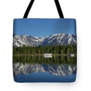 Morning Reflection Boats On Colter Bay Tote Bag